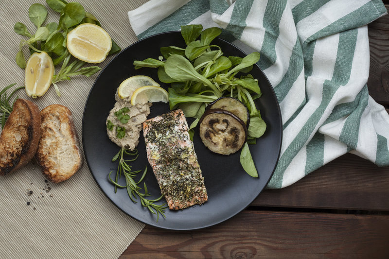Herb Salmon in Foil with Baba Ghanoush