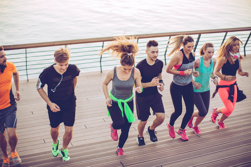 A group of people running together