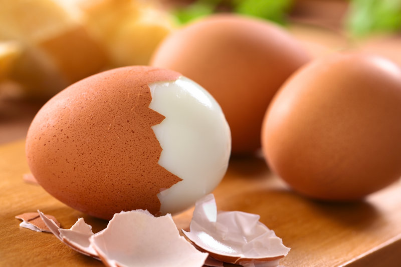 Close up of boiled eggs.