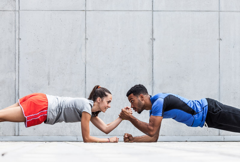Two young people training together