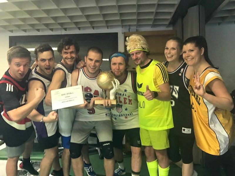 Runtastic employees at a dodge ball tournament.