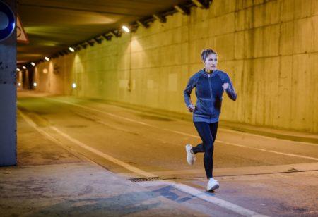Woman running on the street