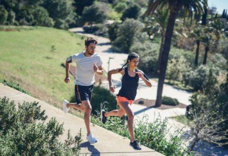 Runners training for endurance