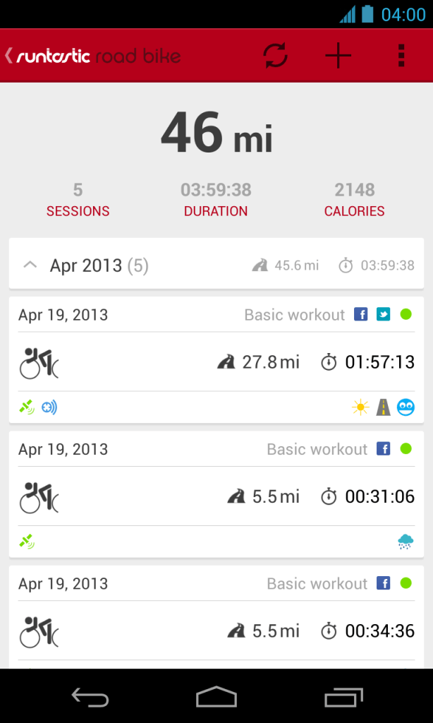 sessioni runtastic