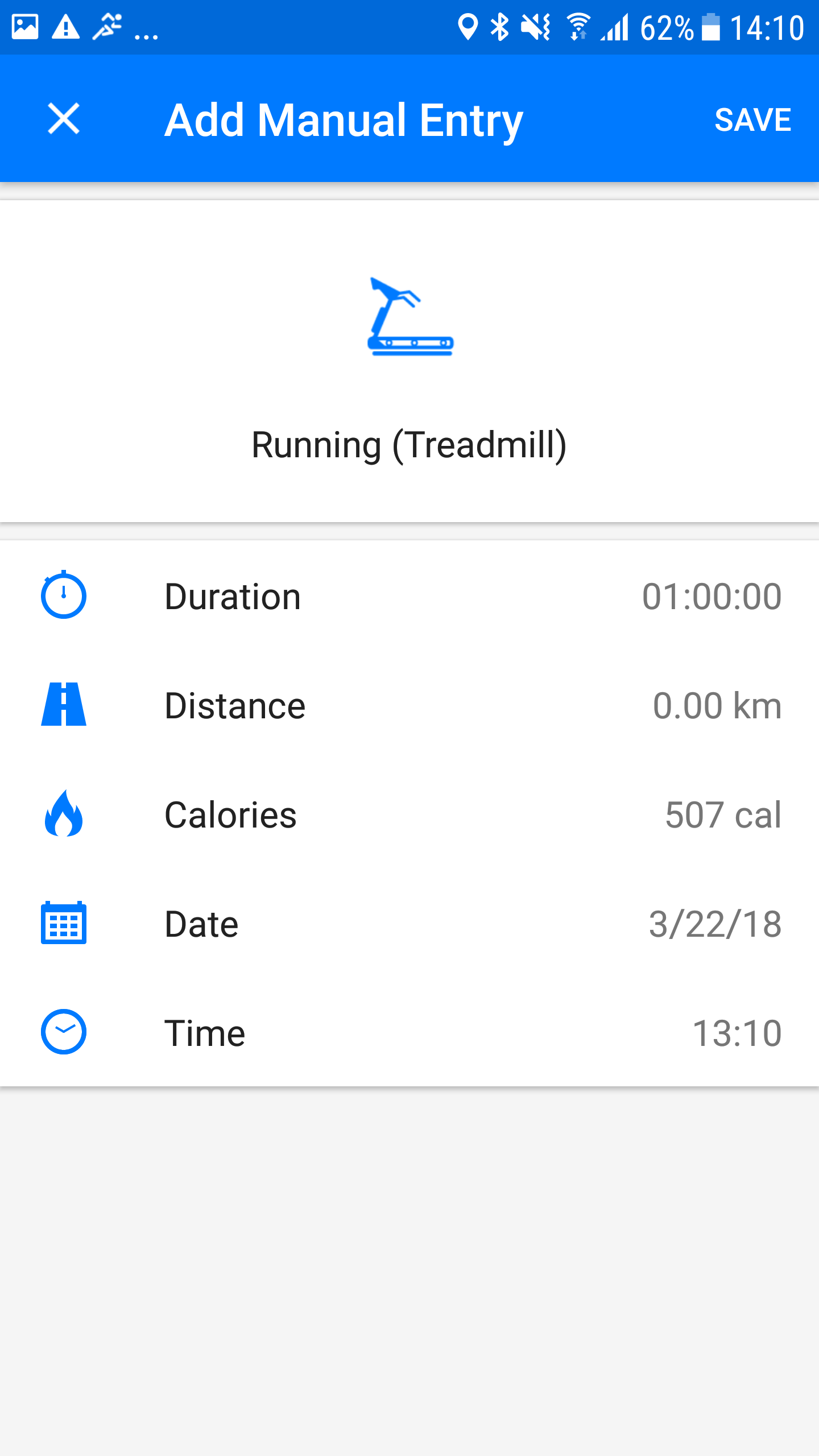 Screenshot Runtastic Add manual activity Android