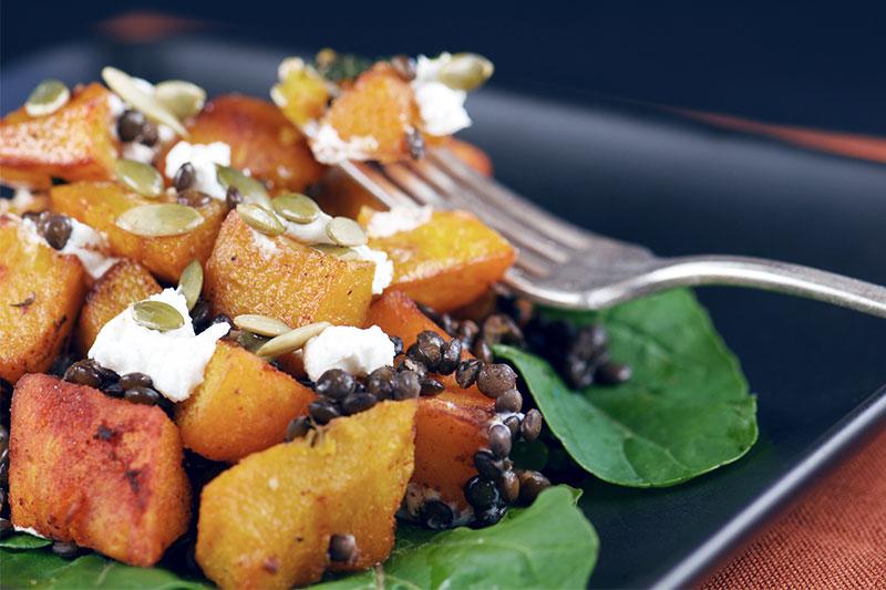 pumpkin salad with pumpkin seeds.