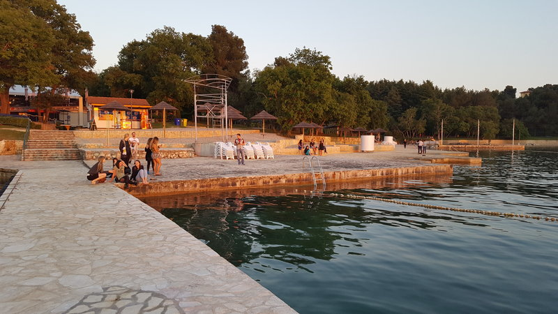 Harbour promenade short before sunset in Croatia.