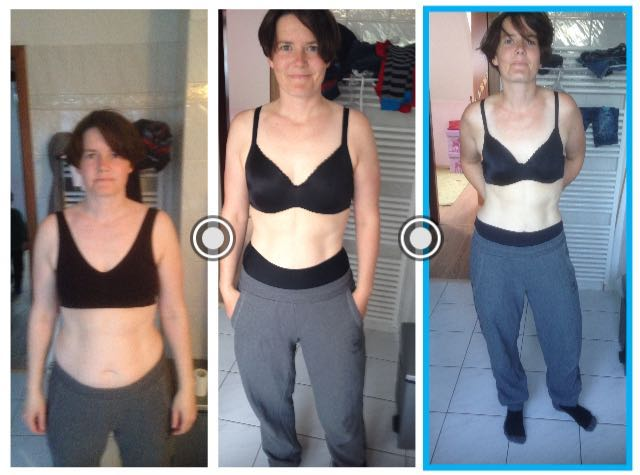 Picture of Sandra and how her body transformed through the training.