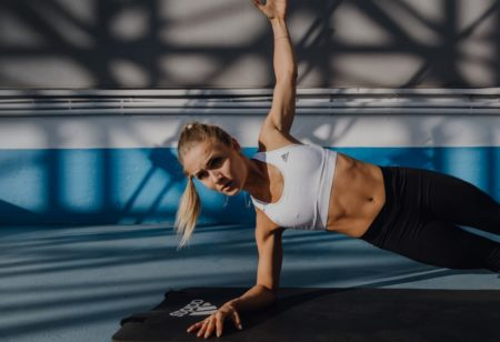 Woman doing side planks