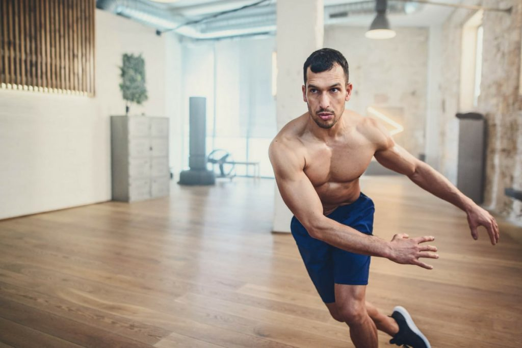 Man doing stability exercise
