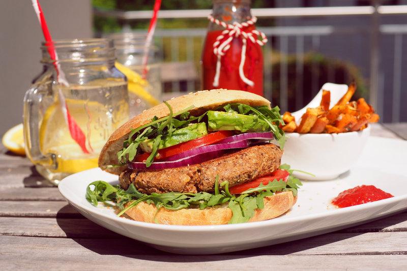 Vegan Patty with Homemade Burger Bun and Sweet Potato and Carrot Fries.