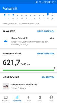 Jahreslaufziel Runtastic app