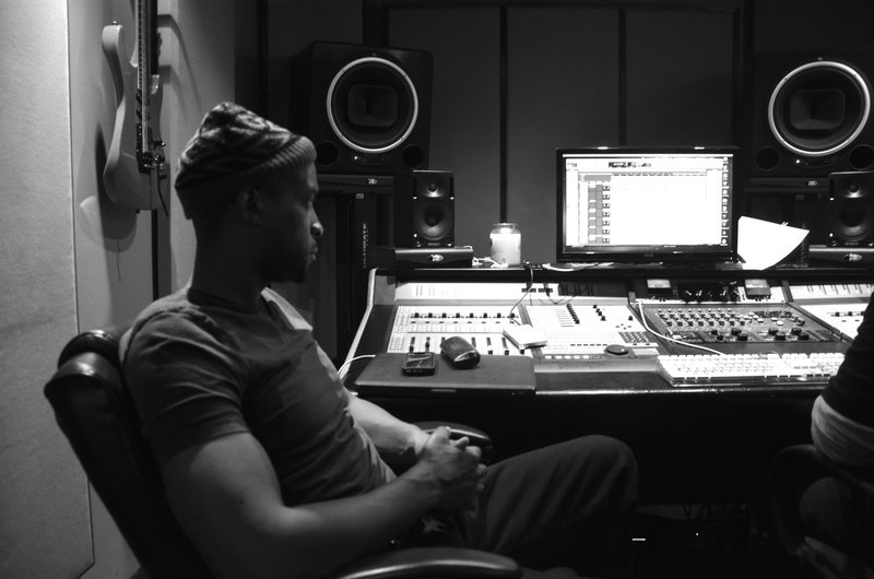 Masta Ace in the studio.