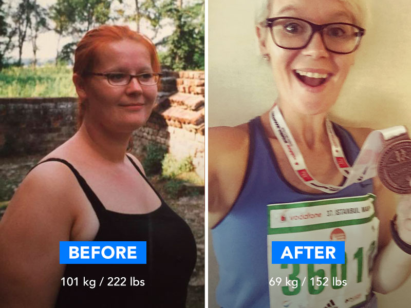 Before and after picture of a woman after completing the Runtastic Results training plan.