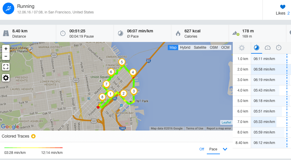 Runtastic App screenshot of a finished runner's route .