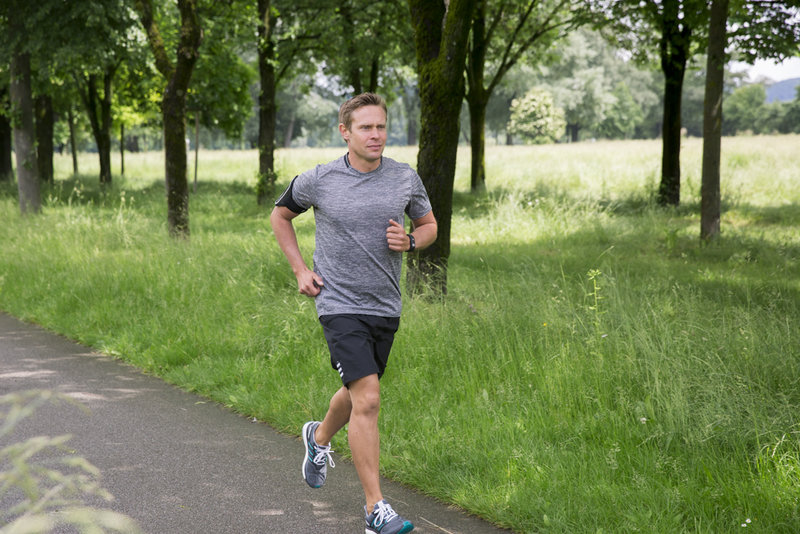 Man running in the park.