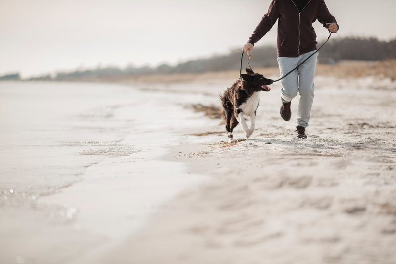 Man is running on the beach with his dog