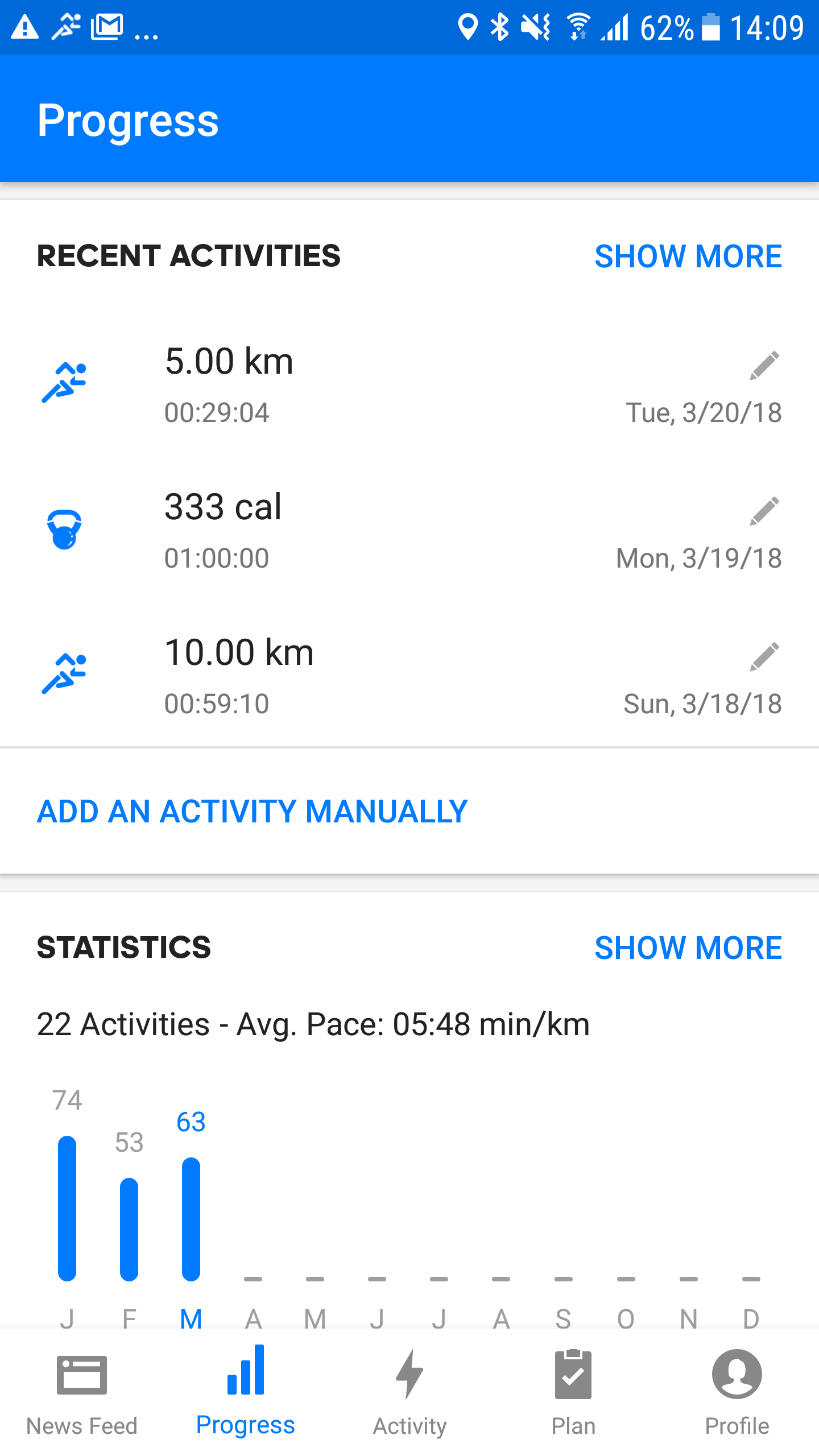 Screenshot Runtastic Add manual activity Android