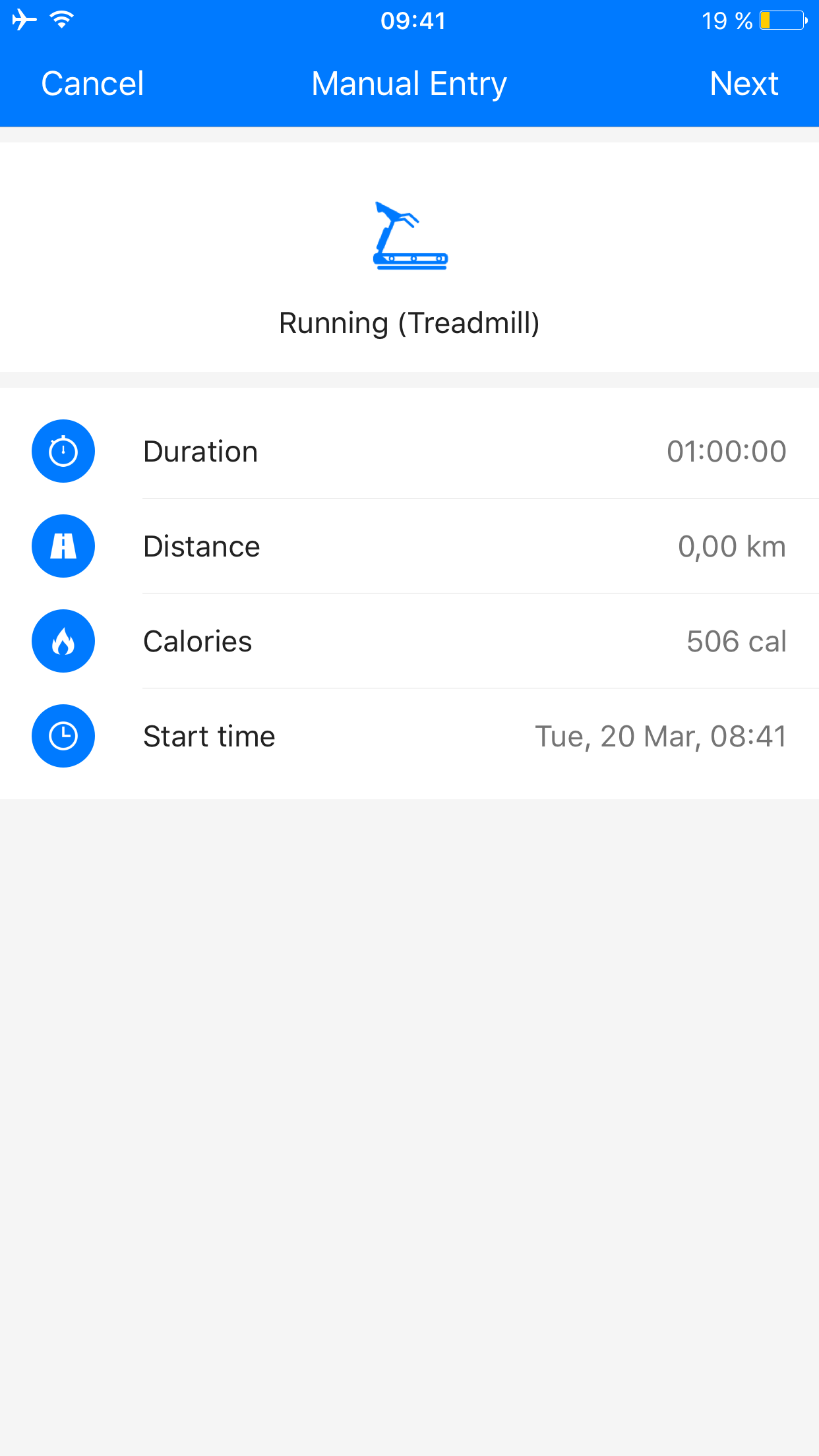 Screenshot Runtastic Add manual activity iOS