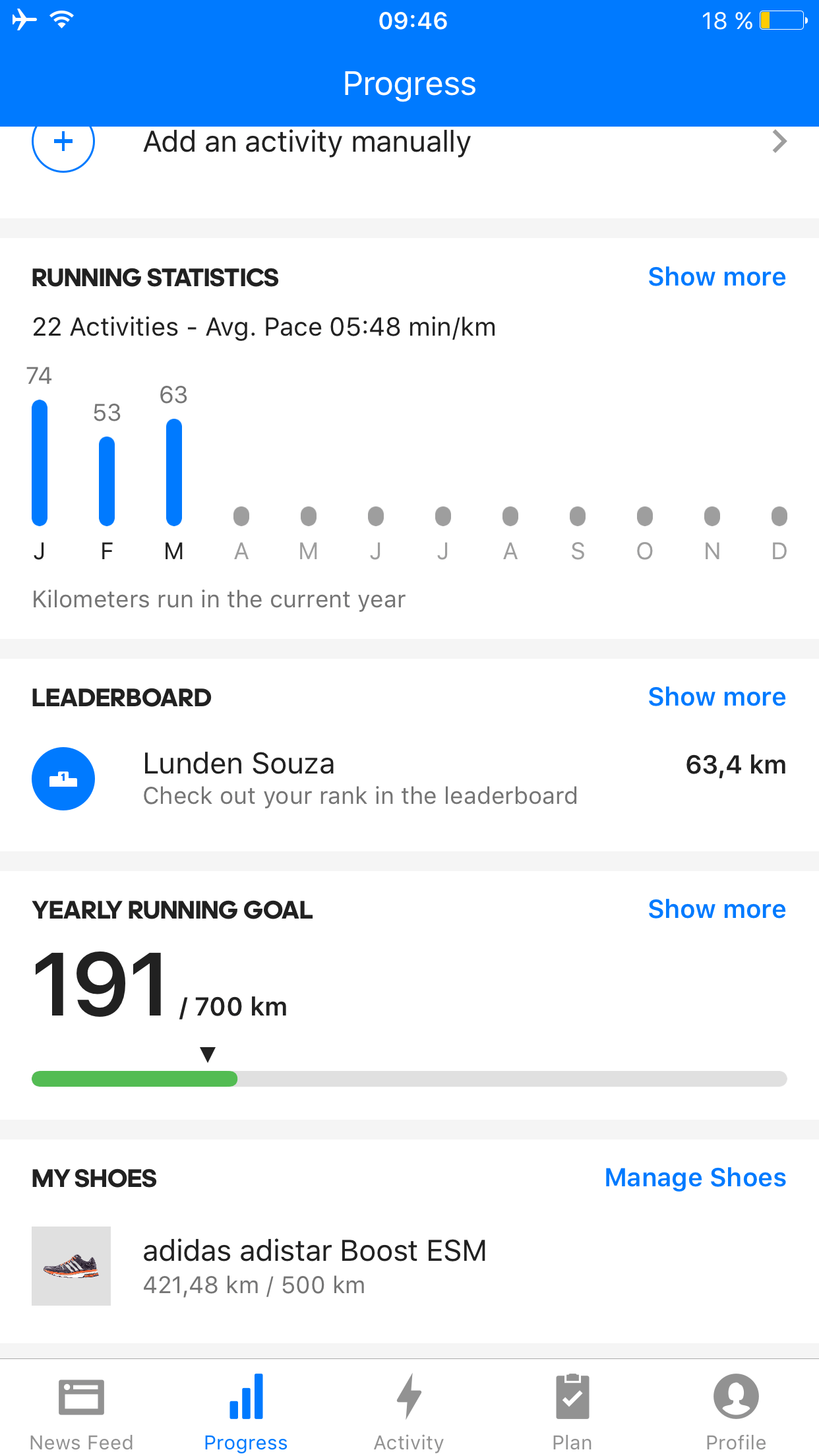 Screenshot Runtastic Shoetracking iOS