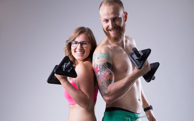 young couple doing workout together