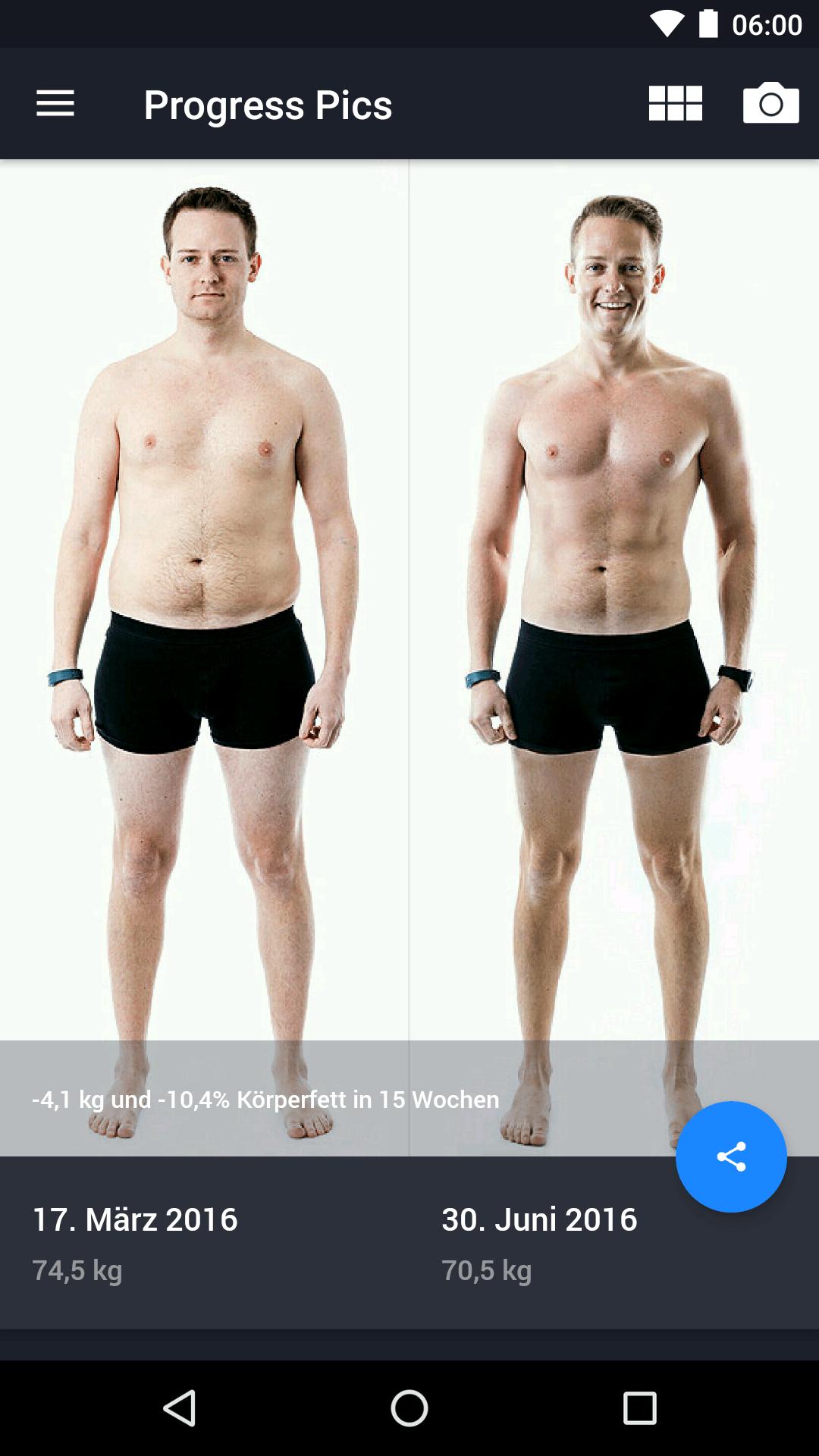 Screenshot des neuen Results update für Android.