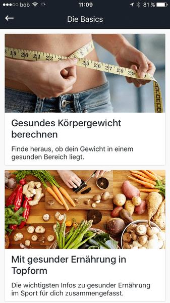 Runtastic Results Screenshot vom Nutrition Guide.