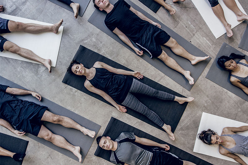 A group of people doing yoga