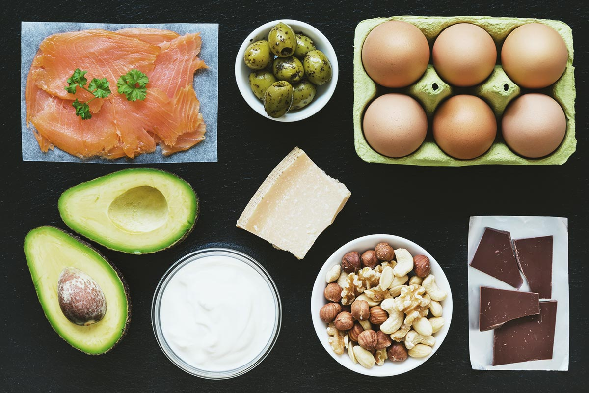 Salmon, eggs, avocado - ketogenic diet