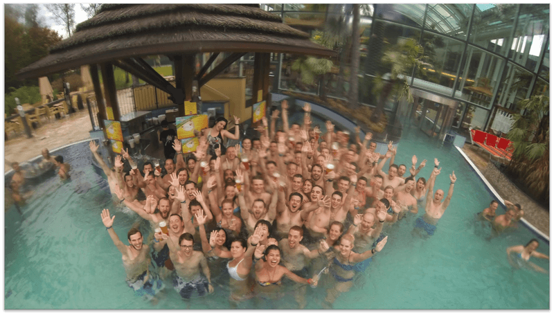 Runtastic employees in the swimming pool.