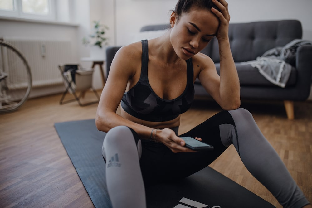 Woman getting ready to work out