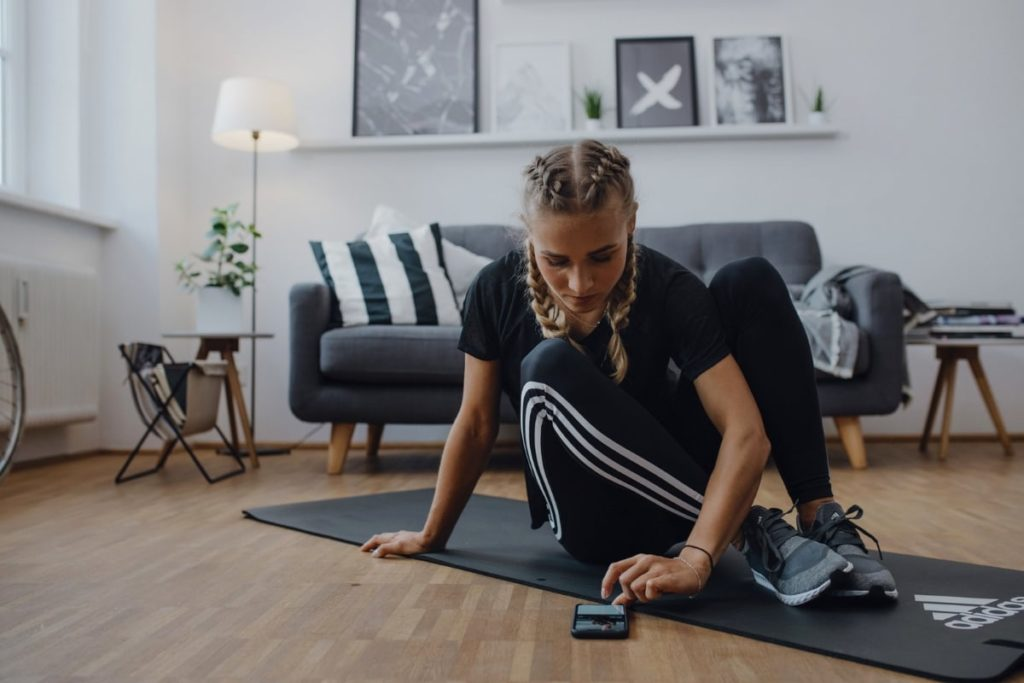 Woman doing a workout at home