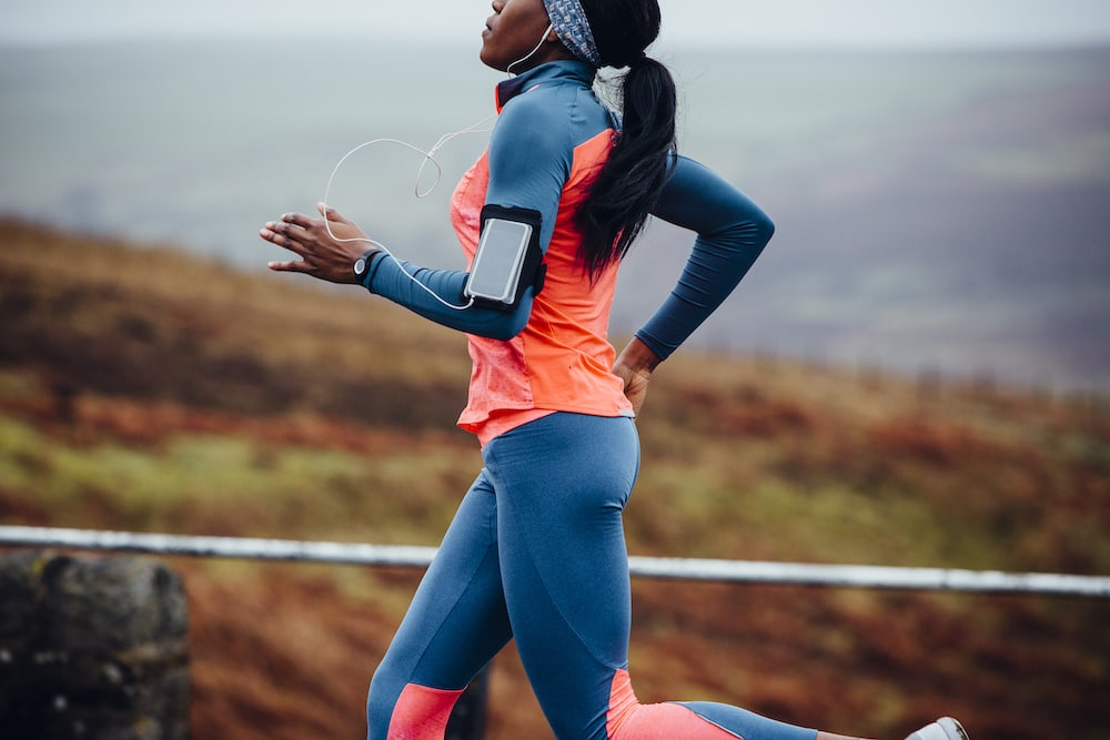 Woman running with earphones