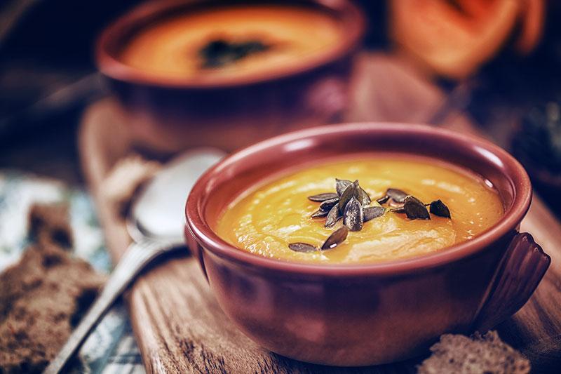 pumpkin soup with pumpkin seeds.