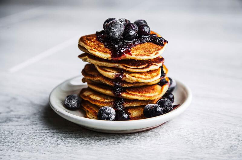 Healthy pancake with banana and cinnamon.