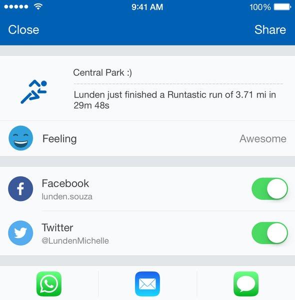 Screenshot Runtastic Pro App