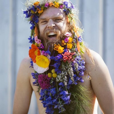 Tommy Franklin with flowers in his beart.