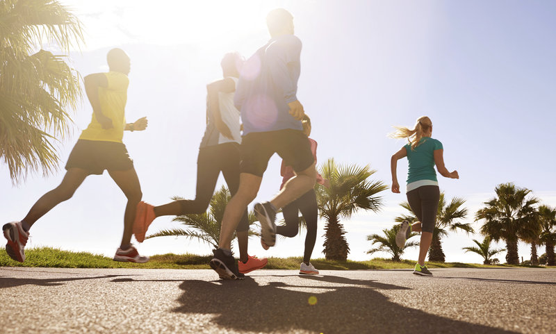 Low angle shot of a group of runners training together on the road