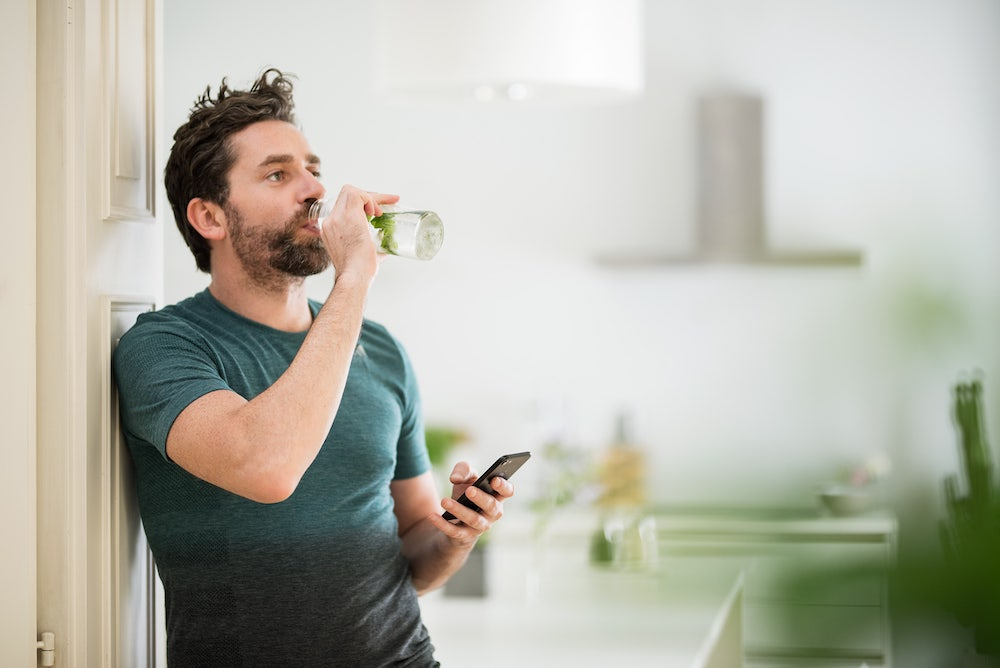 guy drinking water