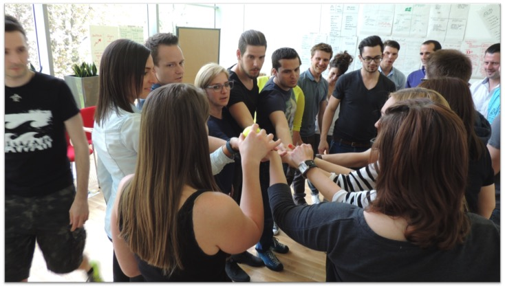 Group of freinds playing a team building game.
