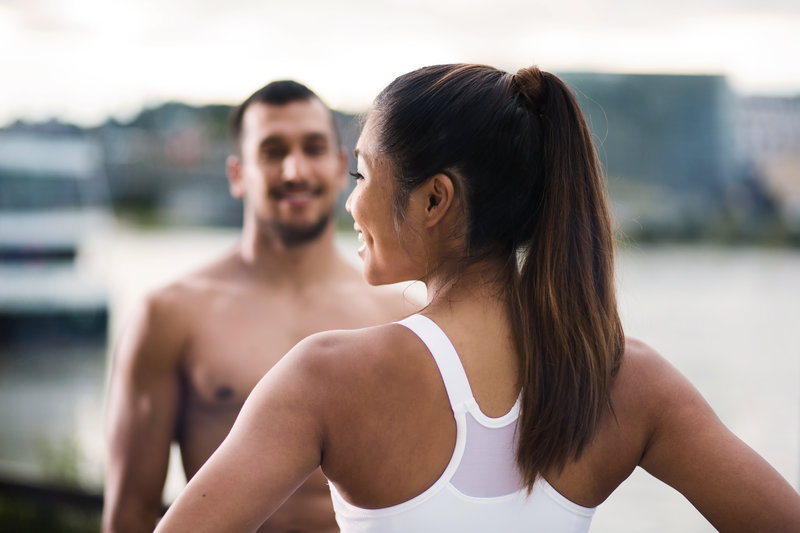 Couple doing a workout together.
