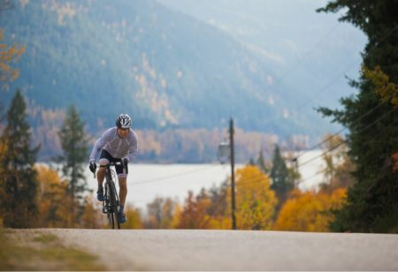 Man cycling uphill
