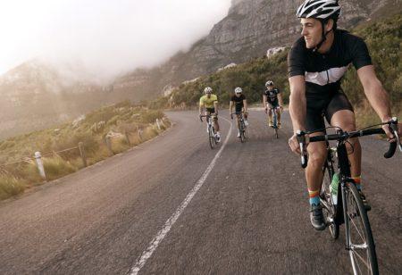 People riding road bikes