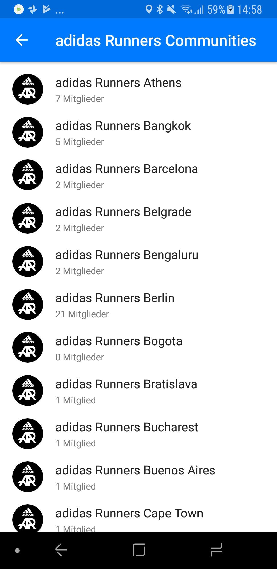 adidas Runners Gruppen Übersicht Runtastic App