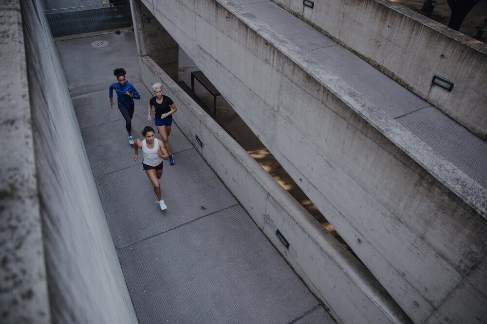 Three women are running