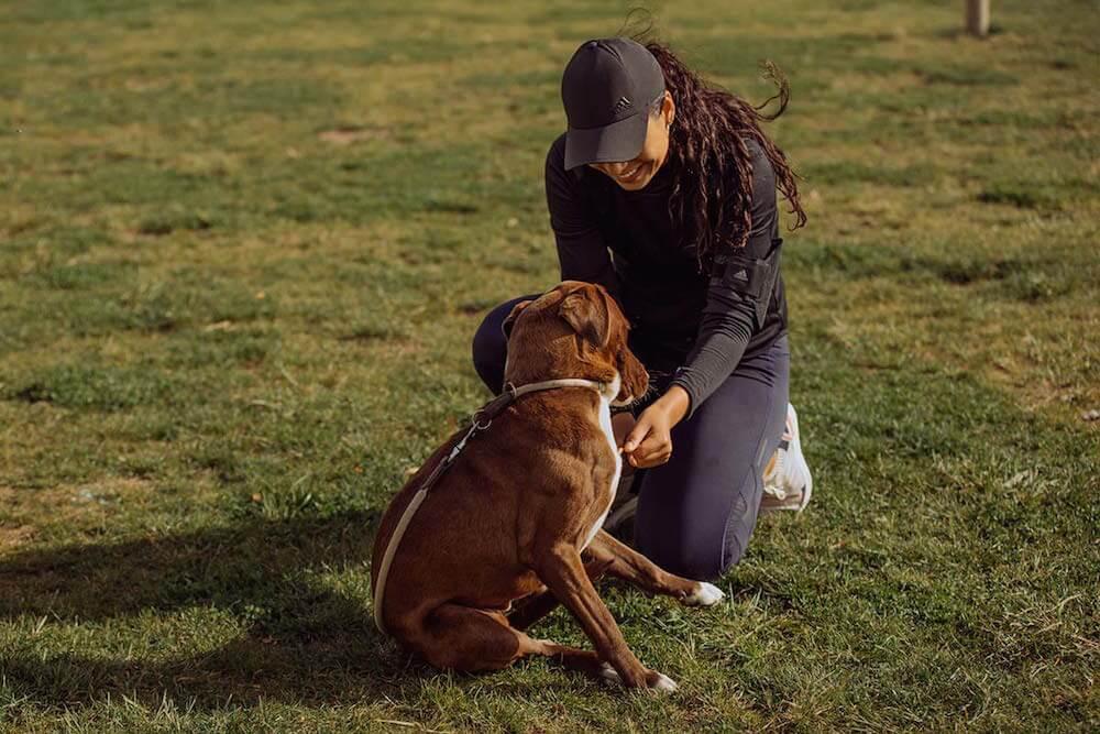 Mulher com cachorro em um gramado