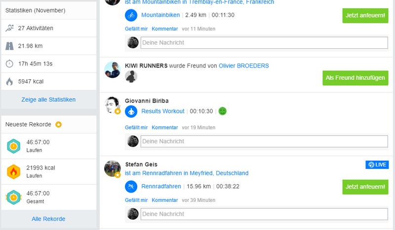 Screenshot von den Rekorden auf Runtastic.com