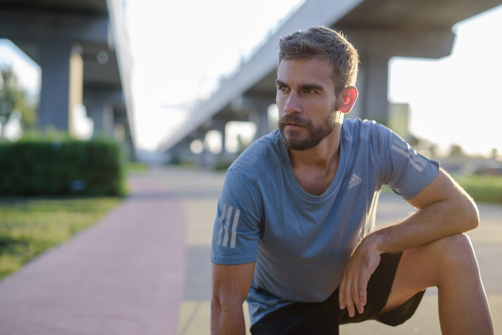 Man cooling down after a run