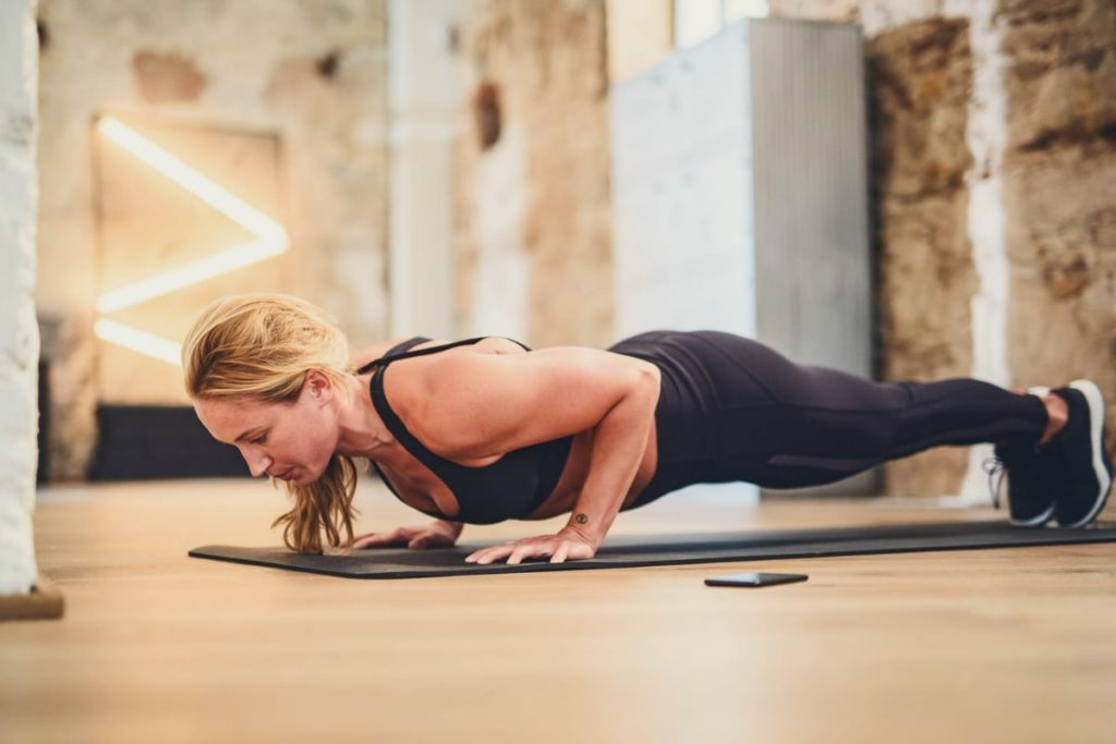 Woman doing a push up