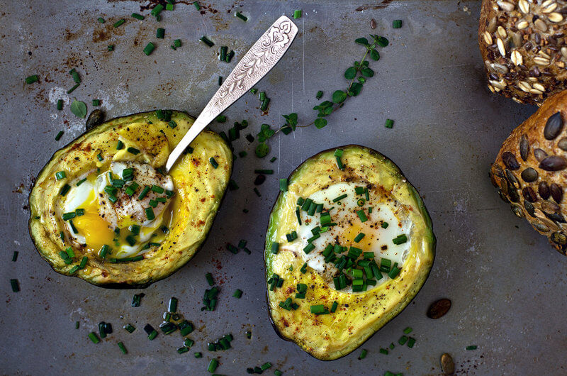Baked avocado with egg.